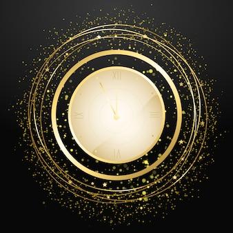 Montre du compte à rebours du nouvel an. horloge antique de vacances avec des confettis dorés