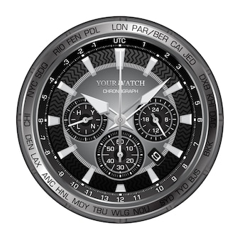 Montre d'horloge noire réaliste avec chronographe luxe
