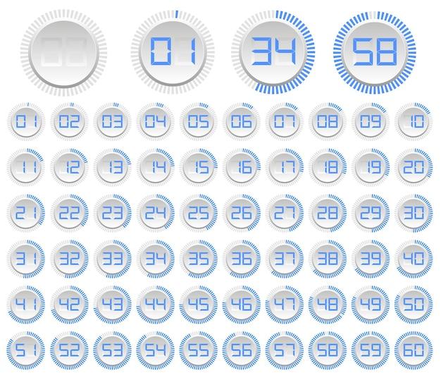 Montre minimaliste. les cadrans de montres modernes sont isolés sur fond blanc. compte à rebours jusqu'à 60 secondes et minutes. ensemble d'icônes vectorielles isolées. illustration vectorielle
