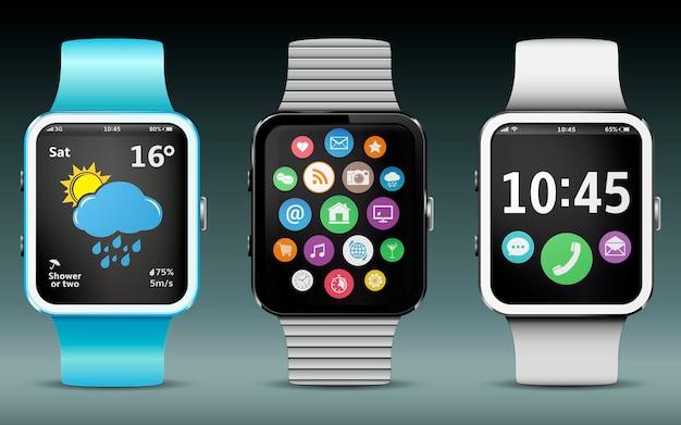 Montres intelligentes avec icônes d'application, widgets météo et horloge