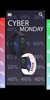 Montres intelligentes numériques cyber lundi vente en ligne affiche publicitaire flyer vacances shopping promotion bannière verticale illustration vectorielle