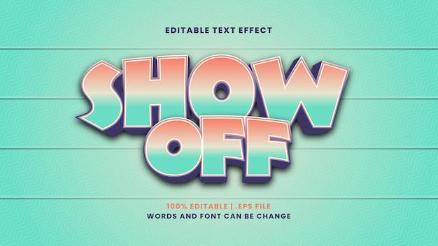 Montrez l'effet de texte modifiable dans un style 3d moderne