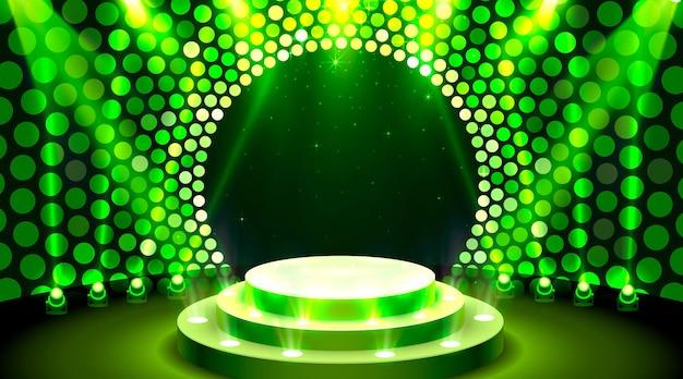 Montrez la scène du podium de la scène lumineuse avec pour la cérémonie de remise des prix sur fond bleu
