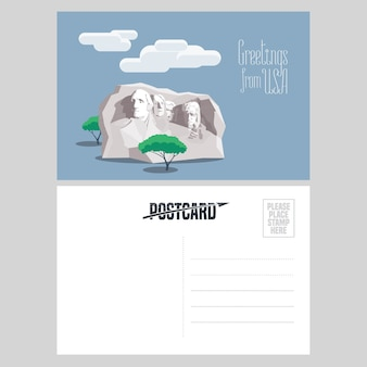 Monture américaine rushmore dans l'illustration de carte postale de modèle. élément pour carte postale envoyée des états-unis pour le concept de voyage en amérique