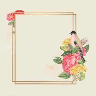 Monture florale dorée, remixée d'œuvres d'art du xviiiesiècle provenant des archives du smithsonian.
