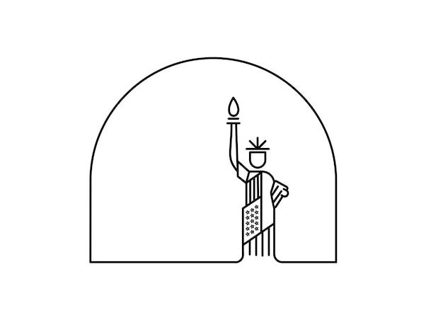 Monument de la statue de la liberté des états-unis. illustration vectorielle de l'amérique patriotique