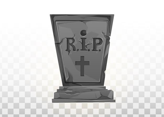 Monument sur la tombe. pierre tombale dans le cimetière. monument gris sur la tombe de rip. illustration de dessin animé de vecteur. ensemble d'éléments d'halloween.