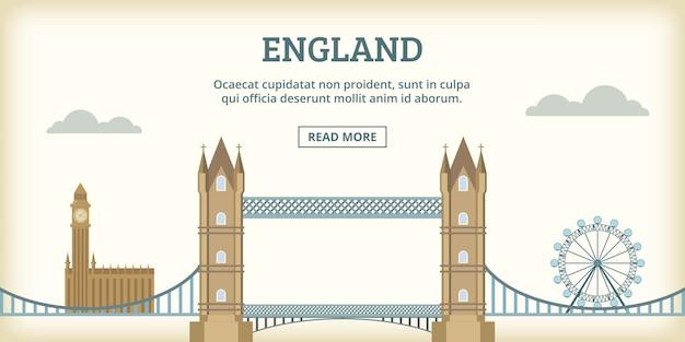 Monuments anglais bannière horizontale, style cartoon