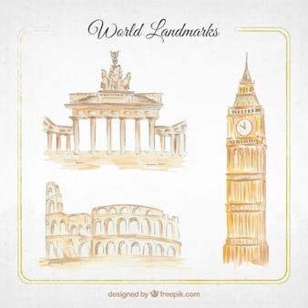 Monuments aquarelle pack
