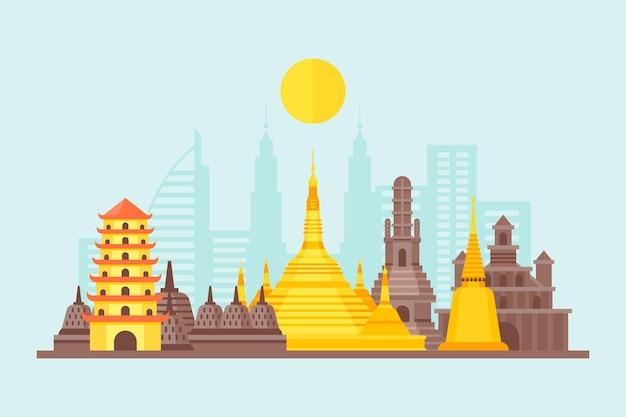 Monuments De L'asean Vecteur gratuit