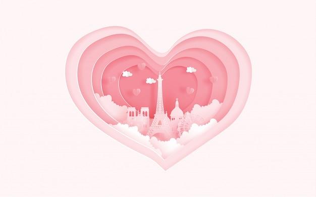 Monuments célèbres de paris, france dans le concept de l'amour avec forme de coeur. carte de valentine