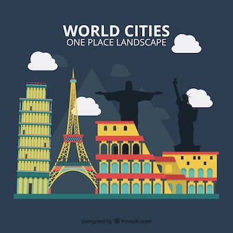 Monuments colorés de villes du monde