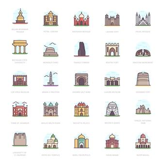 Monuments commémoratifs vecteurs plats