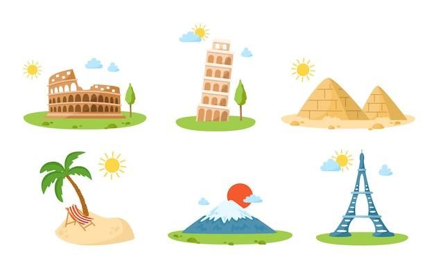 Monuments de dessin animé de voyage dans le monde