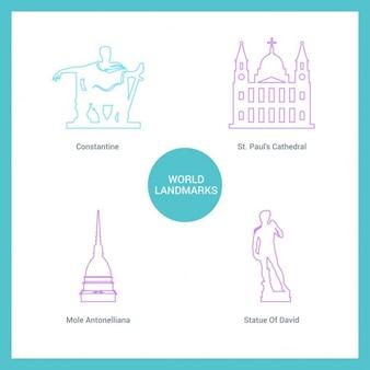 Monuments dessinés avec des lignes