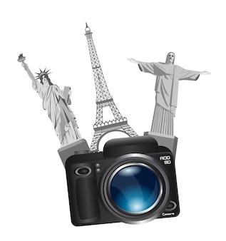 Monuments du monde avec caméra