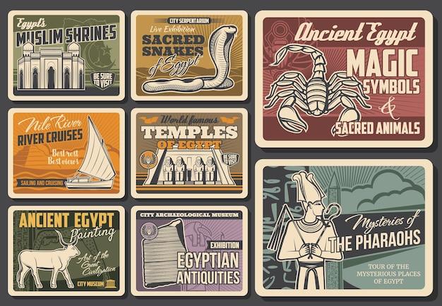 Les monuments égyptiens, le musée d'histoire et les symboles culturels sont des bannières vectorielles. mosquée, temple d'abou simbel et obélisque égyptien, cobra, scorpion et taureau sacré buchis, dieu osiris, pierre de rosette et bateau felouque