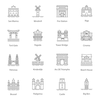 Monuments line icons vectors pack