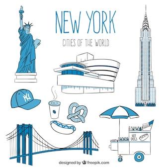 Monuments de new york, dessinés à la main