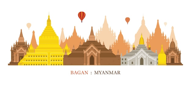 Monuments skyline de bagan myanmar