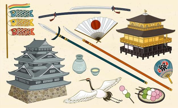 Monuments traditionnels japonais, nourriture et symboles culturels dans le style ukiyo-e