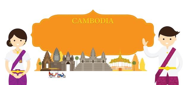Monuments et vêtements traditionnels du cambodge