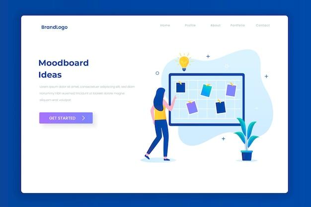 Mood board idées illustration concept de page de destination