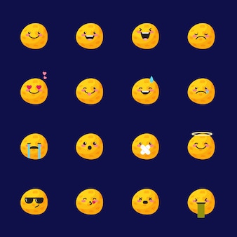 Moon emoji icon set