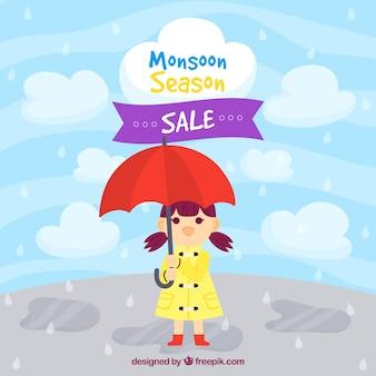 Moonson saison vente fond avec la pluie