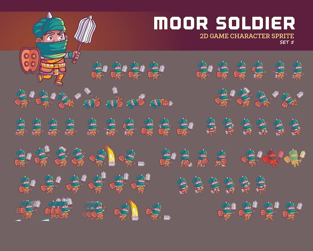 Moor warrior cartoon game jeu de caractères animation sprite