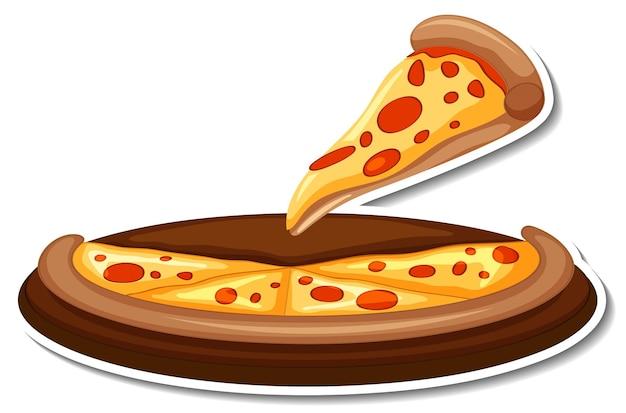 Un morceau d'autocollant de pizza italienne sur fond blanc