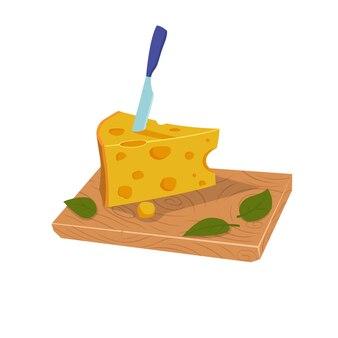 Morceau de fromage avec un couteau sur la planche
