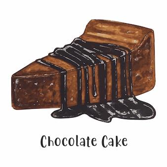 Morceau de gâteau au chocolat aquarelle