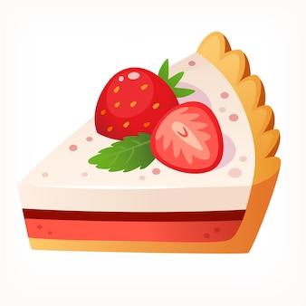 Morceau de gâteau au fromage en couches décoré de fraise image vectorielle isolée