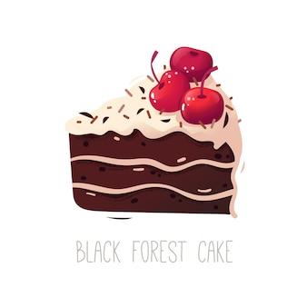 Un morceau de gâteau en couches traditionnel allemand au chocolat et aux cerises
