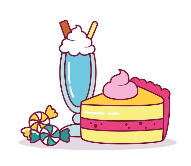 Morceau de gâteau et milkshake sur fond blanc, ligne et style de remplissage
