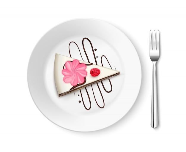 Morceau de gâteau vue de dessus réaliste