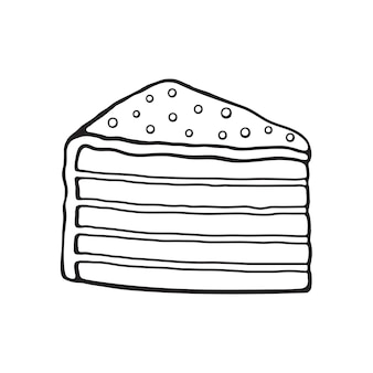 Morceau de griffonnage dessiné à la main de gâteau multicouche avec crème glacée et dragées au sucre illustration vectorielle
