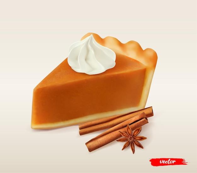 Morceau de tarte à la citrouille avec crème fouettée d illustration vectorielle réaliste de tarte à la citrouille cannelle stic...