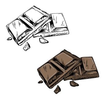 Morceaux de barre de chocolat noir et blanc
