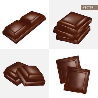 Morceaux de barre de chocolat réalistes