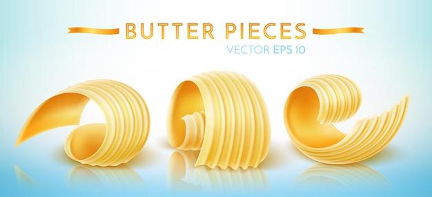 Morceaux de beurre, margarine, pâte à tartiner et produits laitiers. illustration vectorielle réaliste.