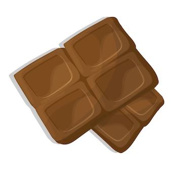 Morceaux de chocolat, illustration de vecteur de dessin animé sur fond blanc