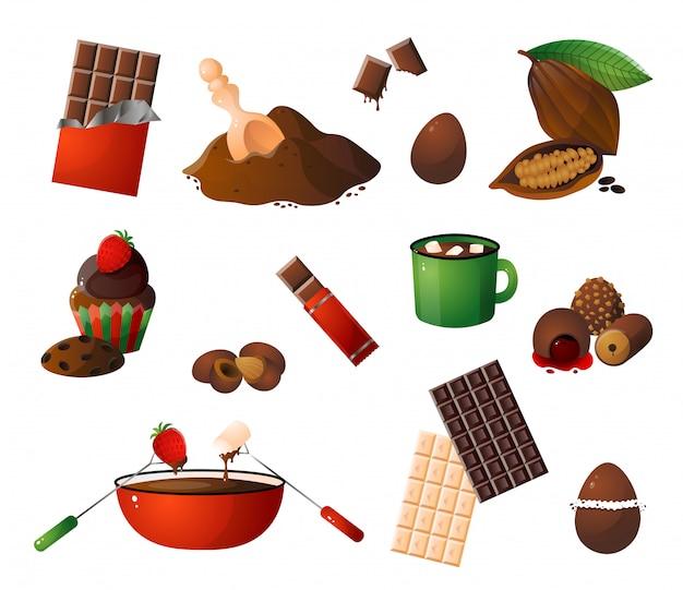 Morceaux, copeaux de chocolat, différents bonbons choco et ensemble de fruits de cacao