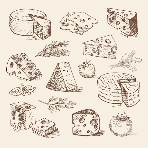 Morceaux de fromage, tomates, légumes verts dessinés à la main. illustration de croquis.