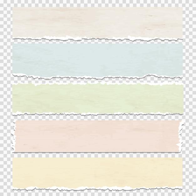 Morceaux de papier grunge sur fond transparent