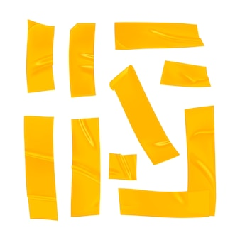Morceaux de ruban adhésif jaune réaliste pour la fixation isolé sur fond blanc.
