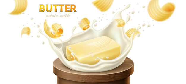 Morceaux de tartinade de margarine au beurre et produits laitiers effet d'éclaboussure de lait vecteur réaliste
