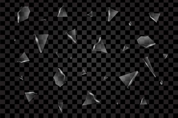 Morceaux transparents réalistes du vecteur de verre brisé