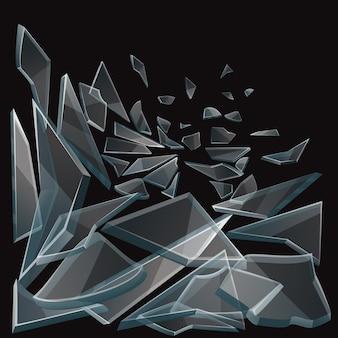 Des morceaux de verre cassés coulent. ensemble de morceaux de verre sur fond noir et verre transparent endommagé